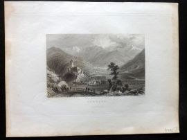 Allom & Grossrubatscher - Tyrol 1836 Antique Print. Curburg. Italy